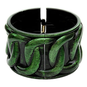 Green Textured Chain Design Hinged Bracelet