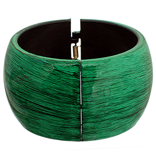 Green Glossy Textured Hinged Bracelet