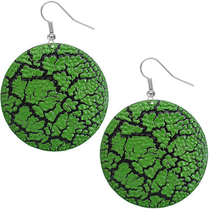 Green Large Cracked Disc Earrings