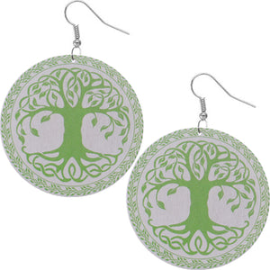 Green Tree of Life Wooden Earrings