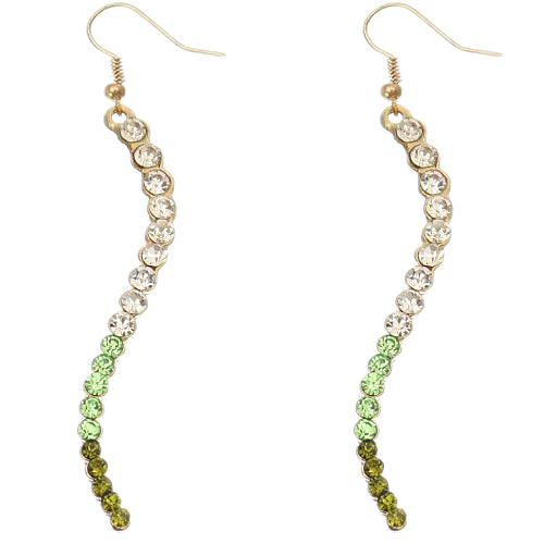Green Two Tone Ombre Rhinestone Curve Dangle Earrings