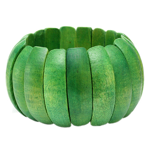 Green Wooden Arch Stretch Bracelet