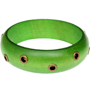 Green Wooden Cutout Bangle Bracelet