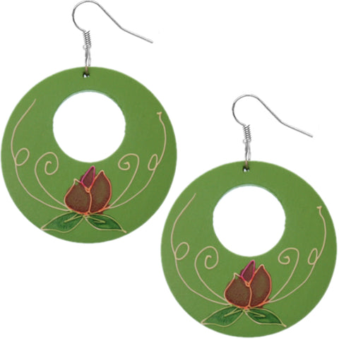 Green Wooden Hand Painted Floral Earrings