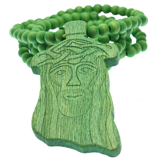 Green Wooden Beaded Chunky Jesus Piece Necklace
