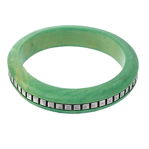Green Wooden Studded Pyramid Bangle Bracelet