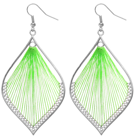 Green Woven Earrings