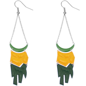 Green Yellow Geometric Drop Chain Earrings