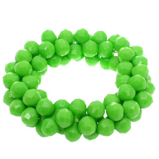 Green Beaded Barbell Stretch Bracelet