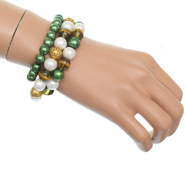Green Faux Pearl Beaded Stretch Bracelets