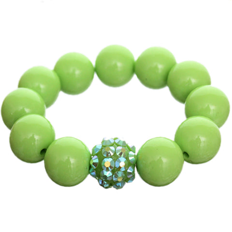 Green Large Fireball Beaded Stretch Bracelet