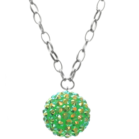 Green Beaded Fireball Charm Chain Necklace