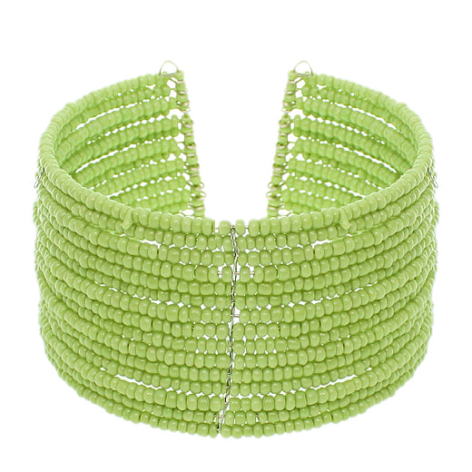 Green Beaded Sequin Coil Cuff Bracelet