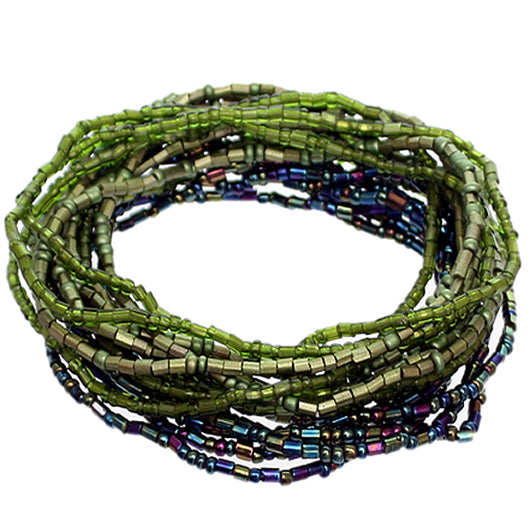 Green Iridescent Beaded Stretch Stacked Bracelets