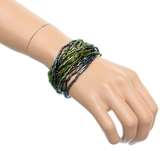 Green Iridescent Beaded Stretch Stacking Bracelets