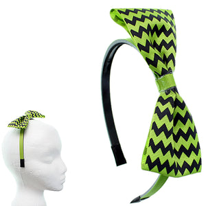 Green Zigzag Chevron Ribbon Bow Headband