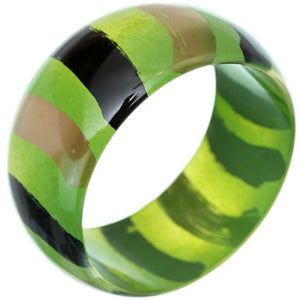 Green Painted Striped Bangle Bracelet