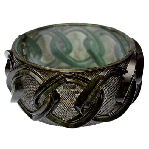 Green Chain Link Texture Hinged Bracelet