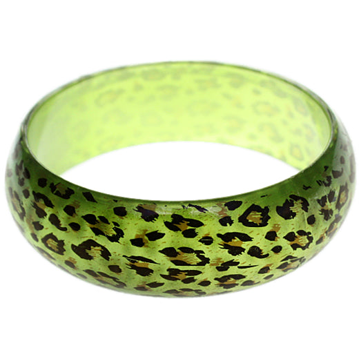 Green Cheetah Print Glossy Bangle Bracelet