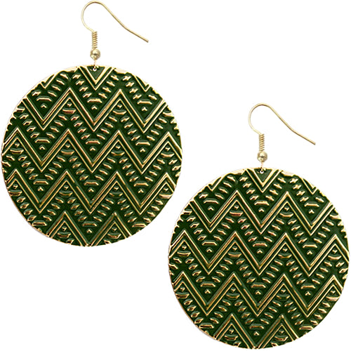Green twist and turn earrings