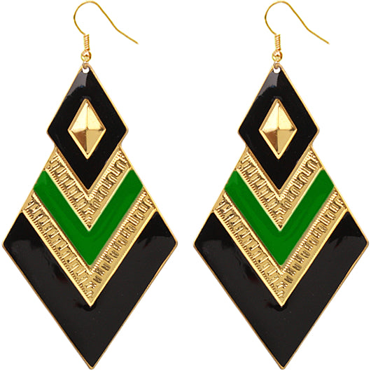 Green v-shaped chevron earrings