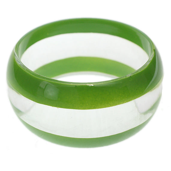 Green Clear Striped Round Bangle Bracelet