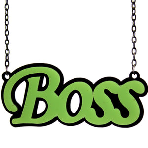 Green Comic Laser Cutout Boss Chain Necklace