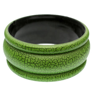 Green Matte Crackle Bangle Bracelet