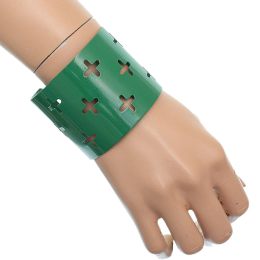 Green Cutout Cross Metal Cuff Bracelet