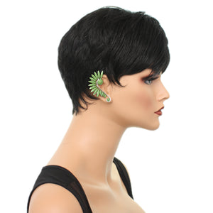 Green Beaded Faceted Stud Cuff Earring