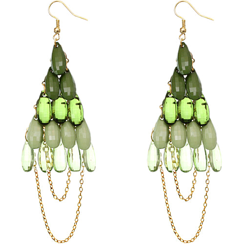 Green Faceted Drop Chain Chandelier Earrings