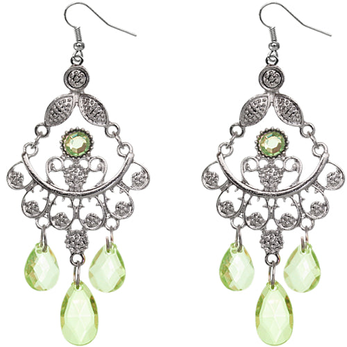 Green drop down beaded earrings