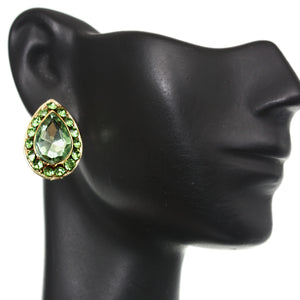 Green Elegant Teardrop Gemstone Post Earrings