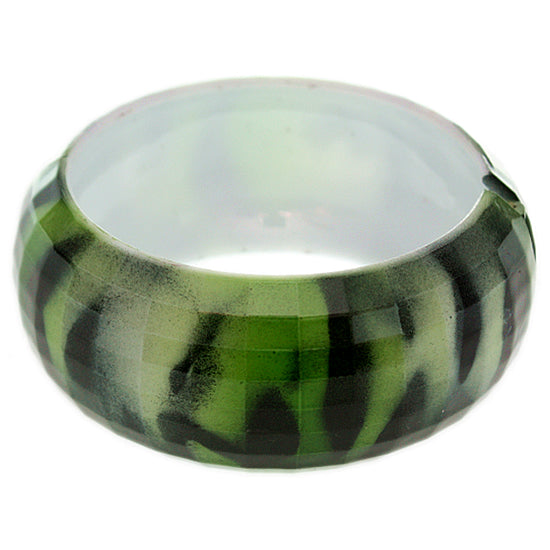 Green Glossy Zebra Stripe Hinge Bangle Bracelet