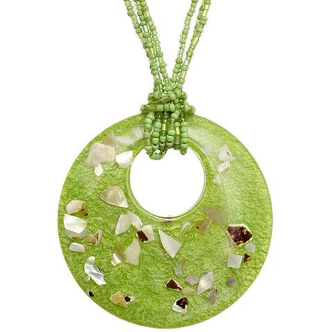 Green Open Circle Faux Marble Beaded Necklace Set