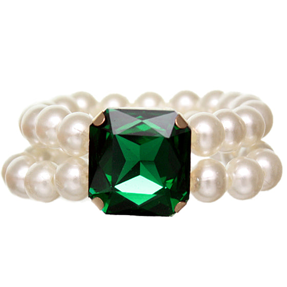 Green Faux Pearl Gemstone Stretch Bracelet