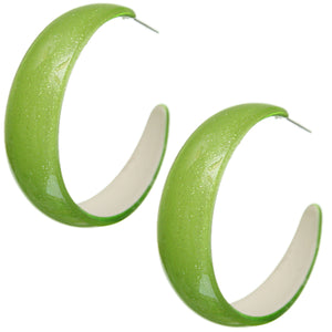 Green Glossy Glitter Hoop Earrings