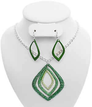 Green Layered Glitter Teadrop Charm Necklace Set
