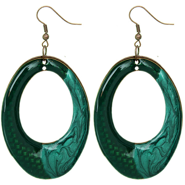 Green Big oval earrings