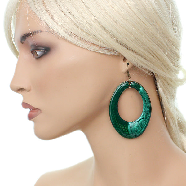 Green oval shaped hoop style earrings