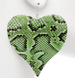Green Snake Heart Earrings