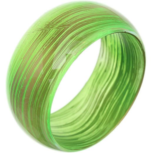 Green Translucent Brushed Bangle Bracelet
