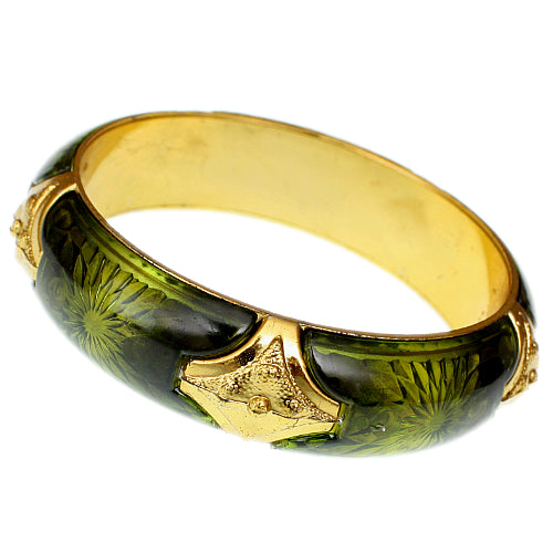 Green Glossy Sunburst Bangle Bracelet