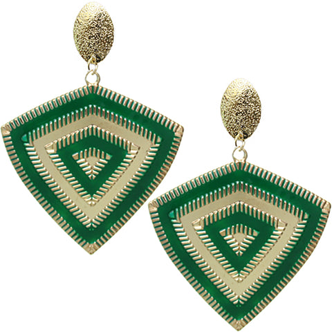 Green Inverted Triangle Frost Earrings