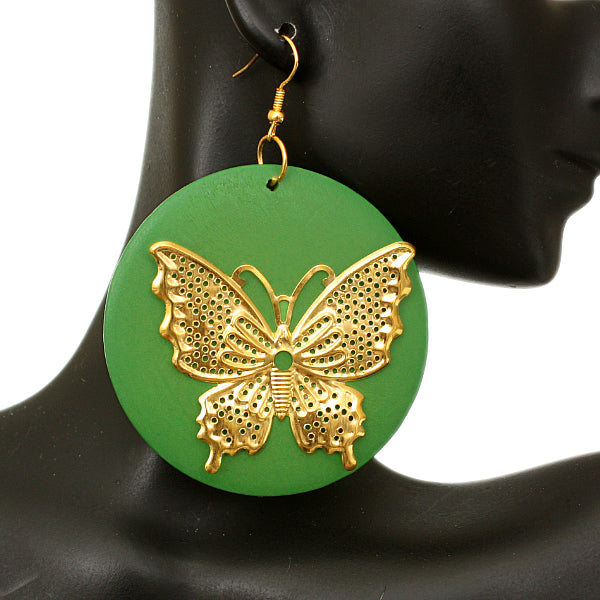 Green Gold Wooden Butterfly Dangle Earrings