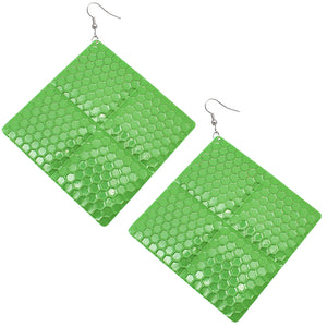 Green Oversized Hammered Honeycomb Pyramid Earrings