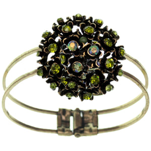 Green Iridescent Flower Bouquet Hinged Bracelet