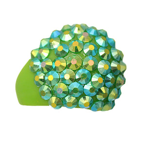 Green Studded Iridescent Rhinestone Dome Ring