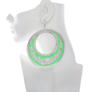 Green Large Texture Design Hoop Earrings
