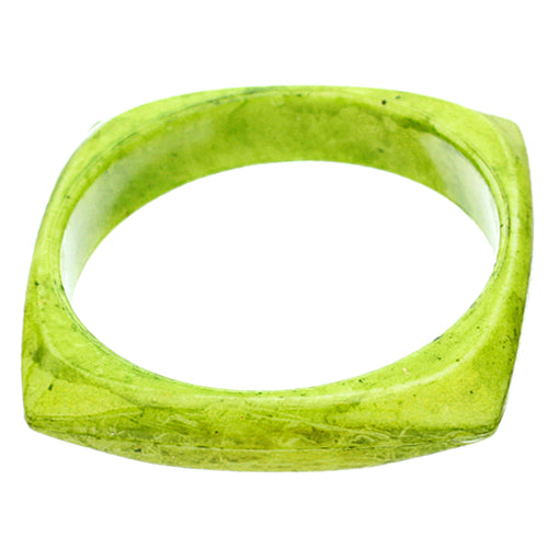 Green Glossy Faux Marble Bangle Bracelet